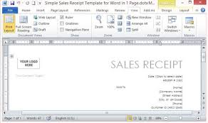 Simple Sales Receipt Template For Word In One Page