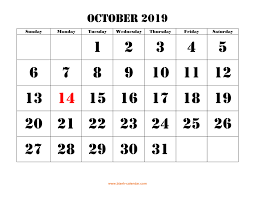 2019 October Calendar October 2019 Printable Calendar Free Download Monthly Calendar