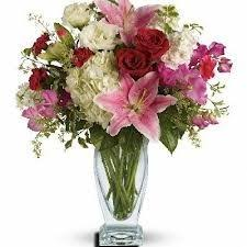 BS 7-Mixed flower arrangement in a tall vase (Flowers and colors may vary