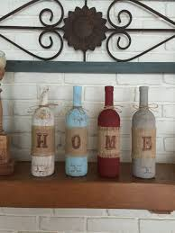 Home Decor With Wine Bottles Home wine bottle mantle or shelf decor rustic home decor wine 40