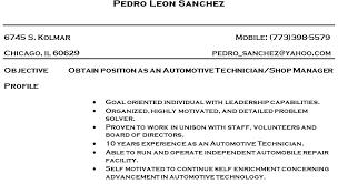 Automotive Resume Template Auto Mechanic Resume Auto Mechanic Resume