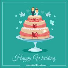 Happy Wedding Cake Vector Free Download