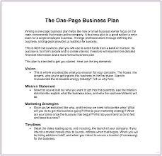 Basic Business Plan Template One Page Business Plan Template Ddaconline Co