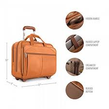 solo new york walker rolling laptop bag premium leather rolling briefcase for women and men