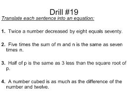 drill 19 translate each sentence into an equation 1
