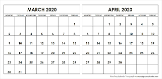 March April 2020 Calendar Monday Start Editable Two Months