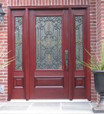 fiberglass entry door with two side panels