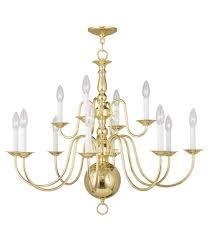 livex 5014 02 williamsburgh 12 light 32 inch polished brass chandelier ceiling light