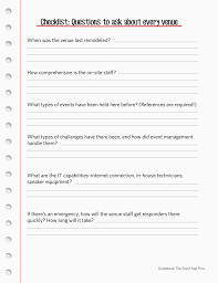 event planning questionnaire know what to ask questions for event venues sponsors and suppliers