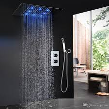 modern led bath set ceiling big rain massage shower head faucets rgb color auto change thermostatic shower nozzle