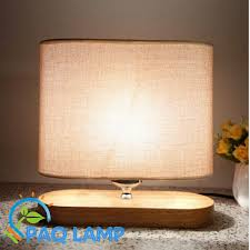 modern table lamp wood light led light linen cloth lamp shade oak wood oval base bed base group creative office