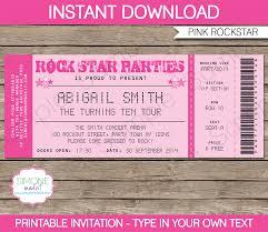 Concert Ticket Invitations Template Rockstar Birthday Party Ticket Invitations Template pink Party 1