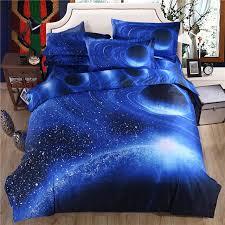 3d blue sky bed sheet set pillowcase planet polyester cotton duvet cover set bed linen