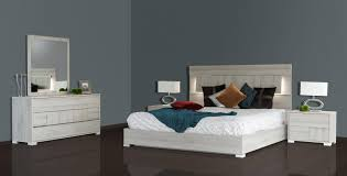 Lighted Headboard Furniture Vig Modrest Ethan Grey Veneer Led Lighted Headboard King Bed