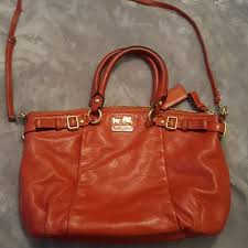 EUC Coach madison lindsey burnt orange satchel