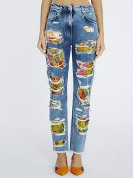 Jeans With Lace Insets Blumarine