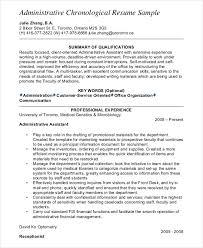 Free Chronological Resume Template Stunning Administrative Chronological Resume Sample Free Chronological Resume