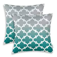teal accent pillows.  Pillows CaliTime Pack Of 2 Canvas Throw Pillow Covers Cases For Couch Sofa Home  Decor Modern Gradient Quatrefoil Accent Geometric 18 X Inches Gray Teal Intended Pillows