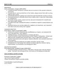 Food Server Resume Awesome Example Of A Server Resume Simple Resume Examples For Jobs