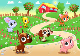 garden animals. Funny Farm Animals In The Garden. Vector Cartoon Illustration. Stock - 35075756 Garden