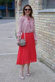 gucci inspired clothing. gucci inspired outfit with low cost clothes, red pleated midi skirt and chiffon lace clothing f