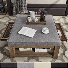 Image Upholstered Lennon Pine Square Storage Ottoman Coffee Table By Inspire Artisan Overstockcom Shop Lennon Pine Square Storage Ottoman Coffee Table By Inspire