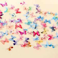 <b>3PCS</b> 3D Double <b>Layers</b> Chiffon Fabric Tulle Butterflies Garden ...