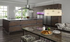 Rectangular Kitchen Design Convertible Range Hood Above Brown Wooden Rustic Island