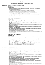 Full Stack Web Developer Resume Samples Velvet Jobs
