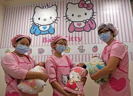 The 30-bed ward located in central Taiwan features cat print linens and Hello  Kitty .
