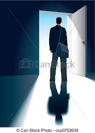 Fine Open Front Door Drawing A Businessman Is Standing In Concept Ideas