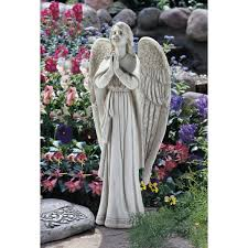 angel garden statues. Amazon.com : Design Toscano Divine Guidance Praying Angel Garden Statue, Medium, Antique Stone Ornaments With Angels \u0026 Outdoor Statues H