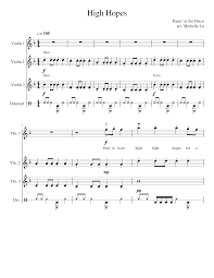 With mp3 and midi files. High Hopes Panic At The Disco Violin Cover Sheet Music For Violin Drum Group Mixed Quartet Musescore Com