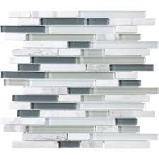 Kitchen Backsplash Tile Lowes Shop Allen Roth Venatino Linear Mosaic Stone And Glass Marble