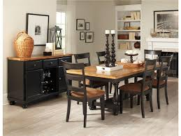 country style dining room sets with black painted dining table and chairs with brown fabric seats and cabinet with drawer and wine rack plus white hardwood