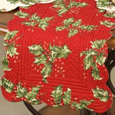 Holly Berry Reversible Quilted Table Linens & Holly Berry Scalloped Table Runner Adamdwight.com