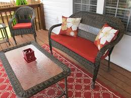 big lots patio chairs wilson and fisher patio furniture traditional black woven seats with red cushion frosted glass coffee table