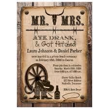 Post Wedding Invitation Rustic Mr Mrs Western Ate Drank