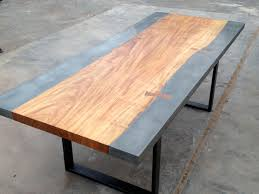 Concrete And Exotic Wood Dining/ Conference Table