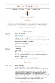 Senior Optometrist Resume samples