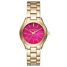 michael kors watches designer watches ernest jones michael kors runway ladies gold tone bracelet watch product number 6426026