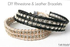 supplies needed to make your own rhinestone and leather bracelet