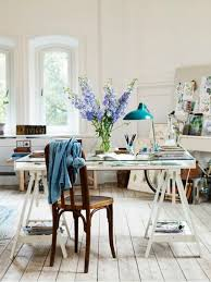 glass top office table chic. the shabby chic office farmhouse floors and vintage chair add charm to this space with modern desk fresh blooms u2013 is perfect glass top table