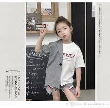 2019 <b>Fashion</b> Kids T Shirt Girls <b>Plaid</b> Shirt <b>Splicing Letter</b> Printed T ...