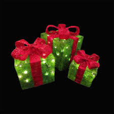 Light Up Christmas Bows Red And Green Light Up Christmas Gift Boxes 25cm