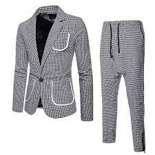 2 Piece Suit Plaid Blazer Jacket For Mens Houndstooth Single Button Suit Coat Pants For Work Business Wedding Party