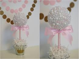 Princess Party Decoration Pearl Centerpieces White Pink Pearls Baptism Centerpiece