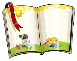 an open book with children reading theme design