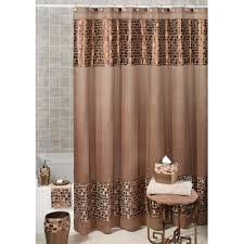 brown shower curtains with extra long shower curtain liner and wrought iron shower stools for modern bathroom design