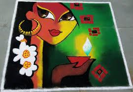 Easy Cartoon Rangoli Designs Rangoli On Festival Of Lights Diwali Simple Flower